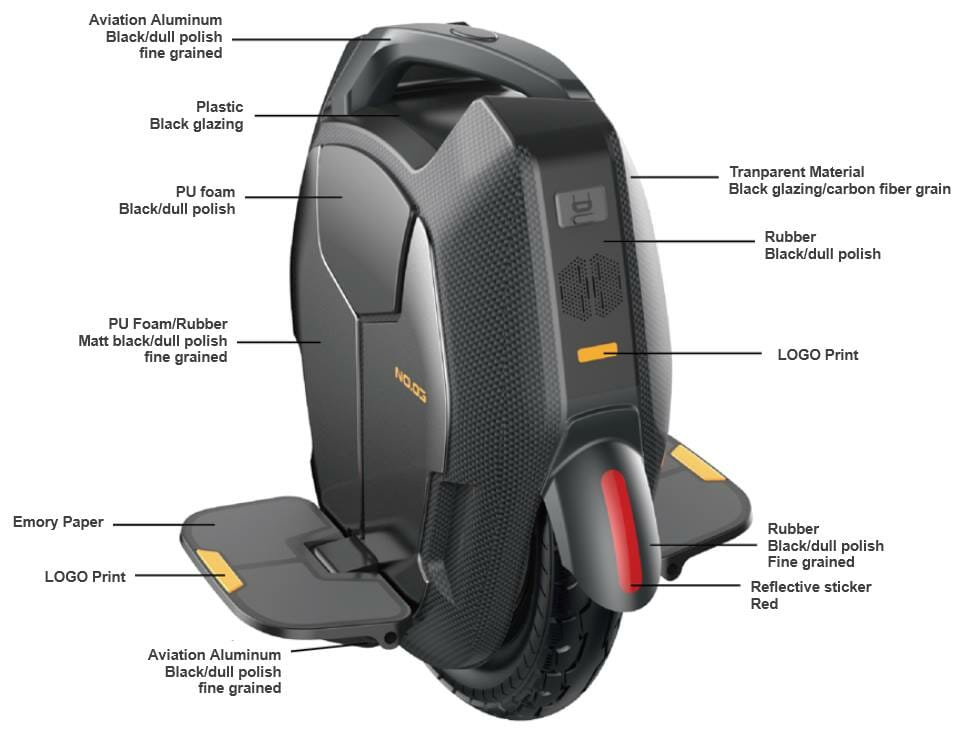 Kingsong KS-16X Electric Unicycle specification sheet
