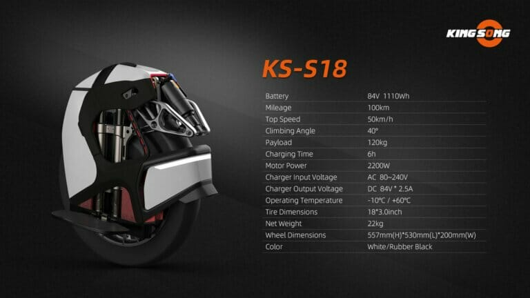 Kingsong S18 electric unicycle Specifications