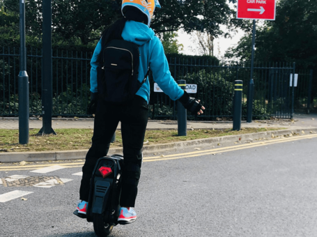test ride with an electric unicycle