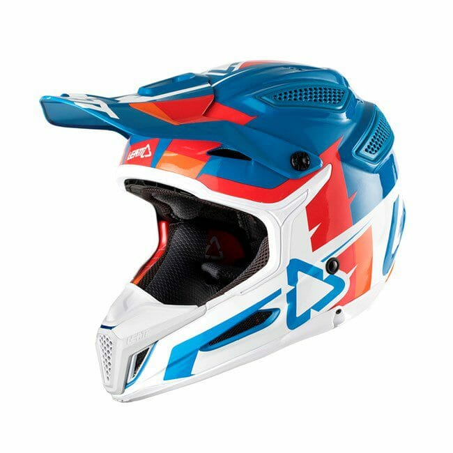 Leatt Helmet GPX 5.5 V10 Blue/White view from the left side