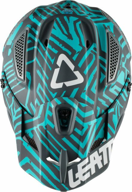 Leatt Helmet GPX 5.5 Composite V11 Grey Teal view from the top